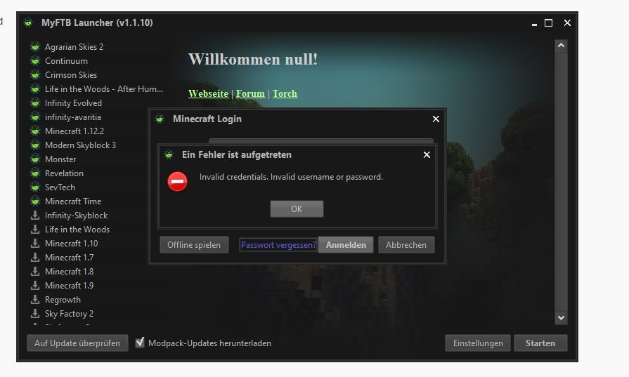 Mich minecraft einloggen kann ich nicht Kann mich